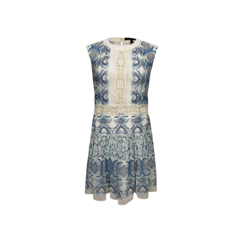"""BCBGMAXAZRIA Blue """"Gardiniacom"""" Printed Dress"""