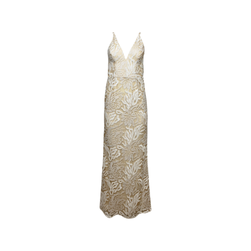 """Dress The Population White Embroidered Sequin """"Sharon"""" Gown"""