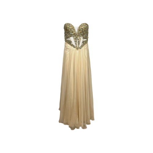 Custom Made Faviana Strapless Champagne Beaded Bustier Gown