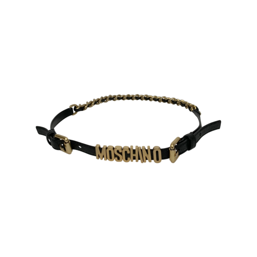 Moschino Black Leather Logo Belt