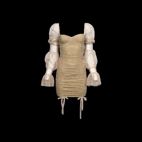 "Michael Costello Baby Pink ""Isadora"" Lace Mini Dress"