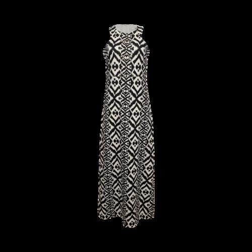 Badgley Mischka Black Studded Ikat Print Maxi Dress