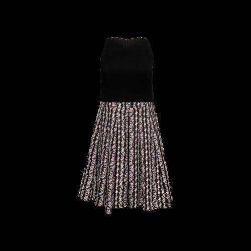 Aidan Mattox Black Multi-Floral Skater Skirt Dress
