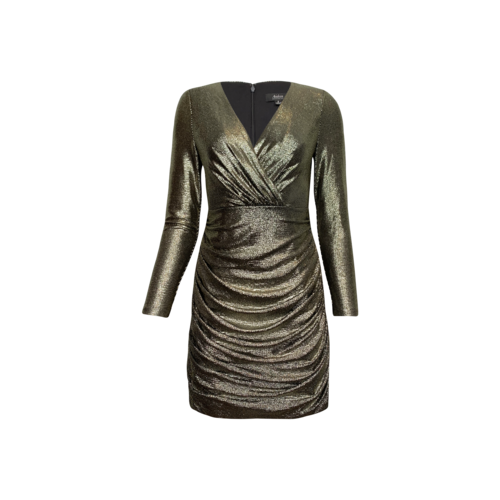 Aidan Mattox Metallic Gold Side Ruched Textured Dress