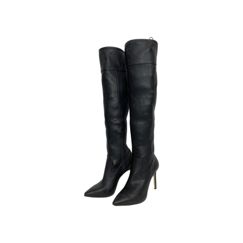 Michael Kors Black Thigh High Pointed Leather Boots