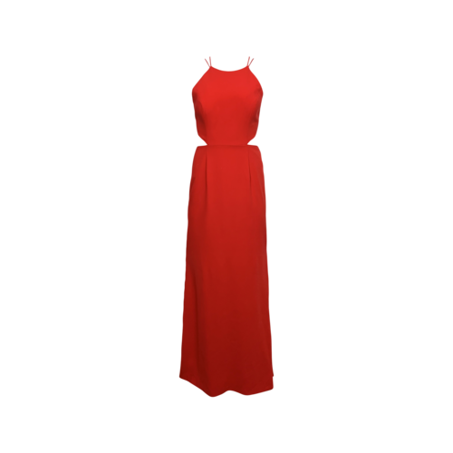 Aidan Mattox Red Crepe Cut-Out Gown