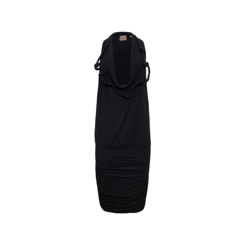Rachel Roy Black Front Cowl Dress w/ Braided Detail
