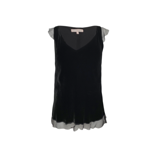 Rebecca Taylor Black Velvet Top w/ Rhinestone Sleeve Details