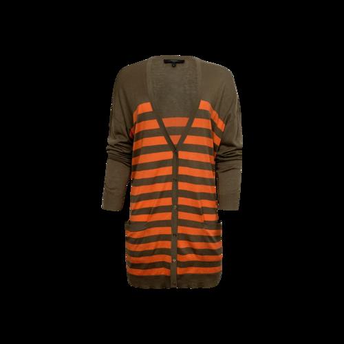 Max Mara Orange Stripe Buttoned Cardigan