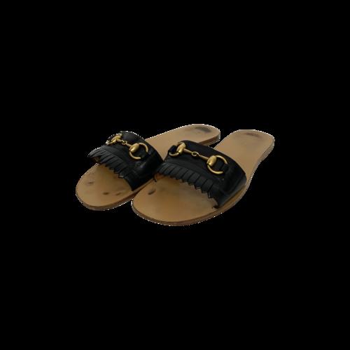 Gucci Black Horsebit Slide Sandals