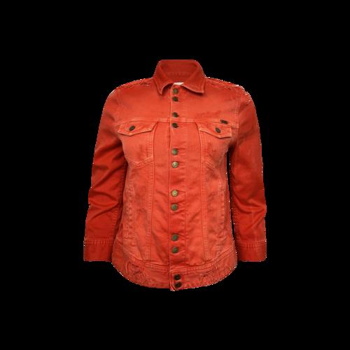 """Vintage Acquaverde Paris Red Distressed """"Carmen""""Denim Jacket"""