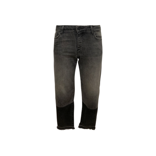 Zadig & Voltaire Grey Cropped Fringe Hem Jeans