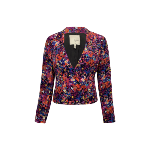 Joie Multi-Color Floral Print Silk Blazer