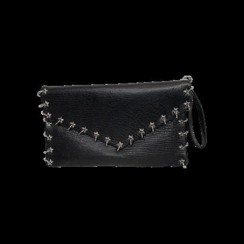 Ash Black Star Studded Envelope Clutch