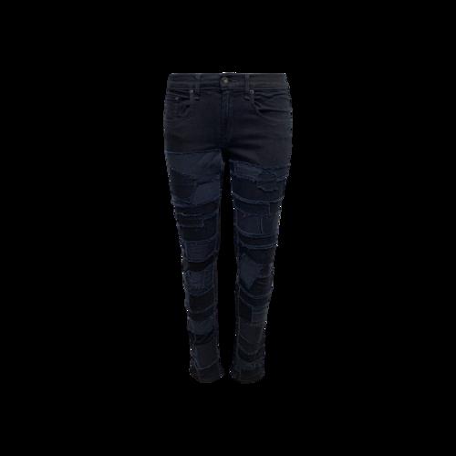 rag & bone Black Patchwork Denim Skinny Jeans
