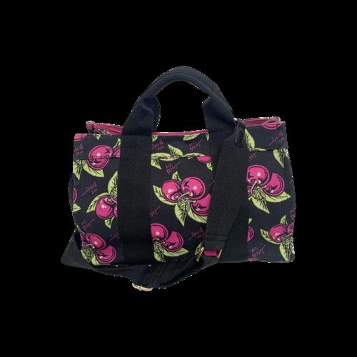 Betsey Johnson Vintage Pink Cherry Print Canvas Tote Bag