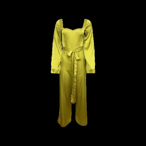 "Mad Alma Chartreuse Green ""Lizzy"" Silk Jumpsuit"