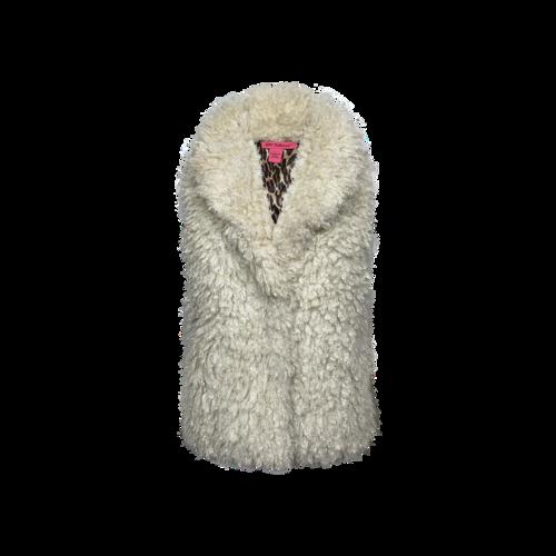 Betsey Johnson White Faux Fur Vest