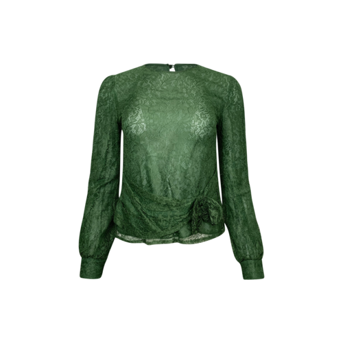 Valentino Green Lace Top w/ Bow Detail