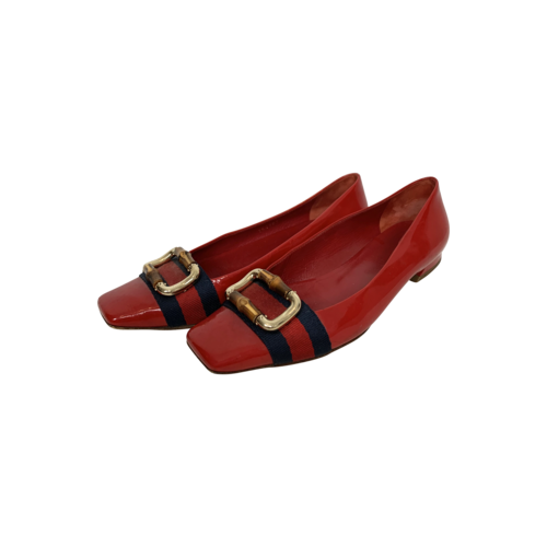 Gucci Red Patent Leather Bamboo Ballet Flats