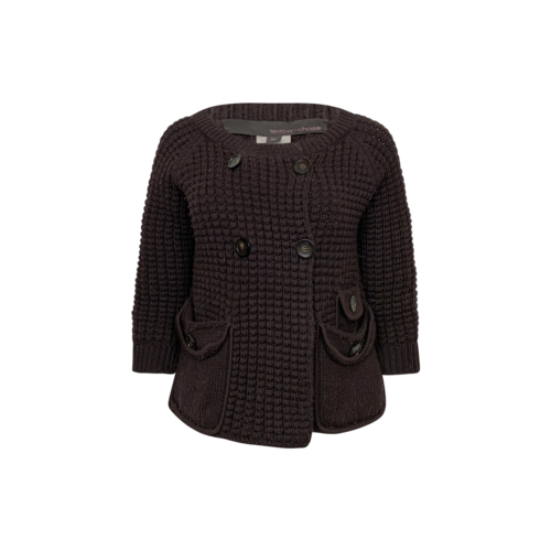 Vintage Tevrow + Chase Brown Chunky Knit Cardigan