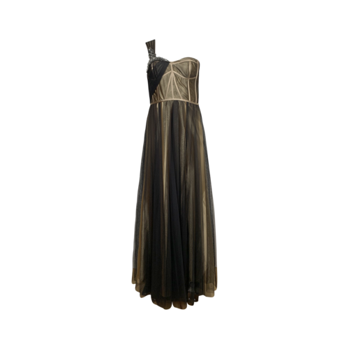 Basix Black One-Shoulder Tulle Gown w/ Embellishments