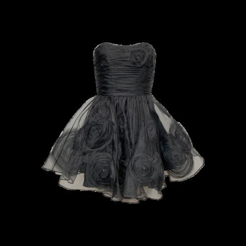 Betsey Johnson Black Strapless Rosette Dress