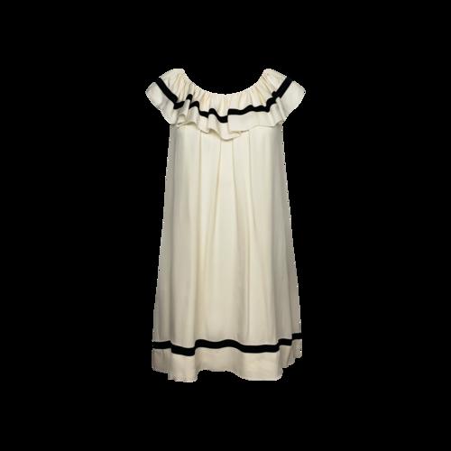 BCBGMAXAZRIA Cream Ruffle Silk Dress