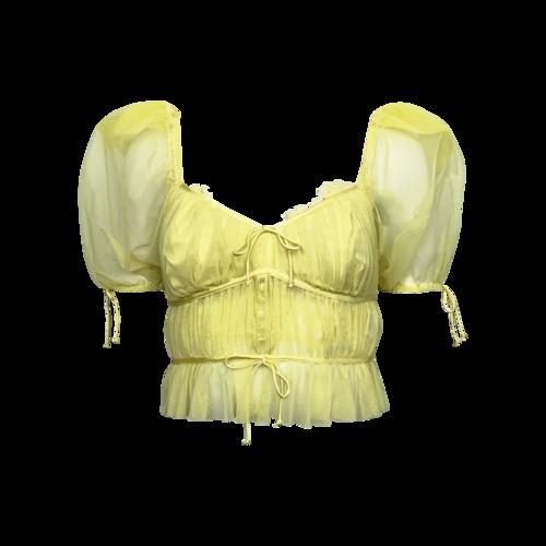 For Love & Lemons Yellow Sheer Puff Sleeve Top w/ Matching Bralette Set