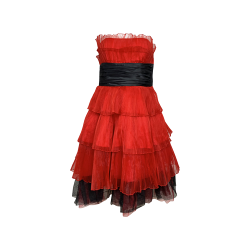 Betsey Johnson Red Straples Tiered Tulle Dress