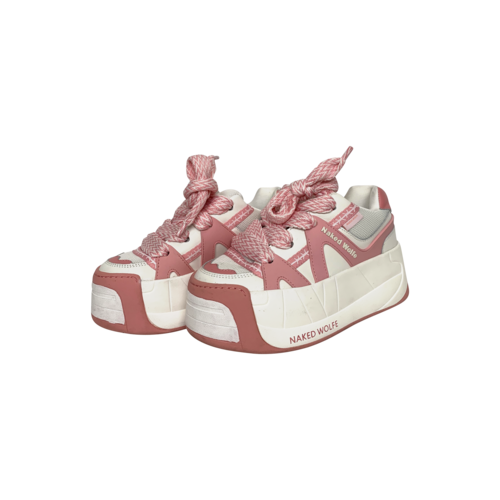 "Naked Wolf Baby Pink ""Slider"" Platform Sneakers"
