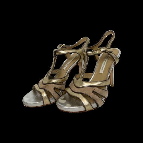 Diane von Furstenberg Gold Metallic Strappy Heels