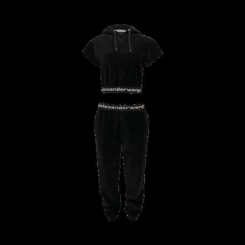 Alexander Wang Black Branded Elastic Trim Corduroy Hoodie and Matching Pants Set