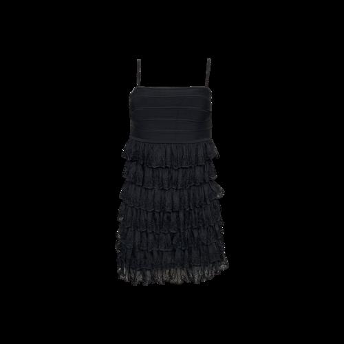 Herve Leger Black Bandage Bodice Tiered Dress