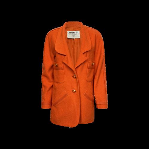 CHANEL Vintage Orange Wool Blazer