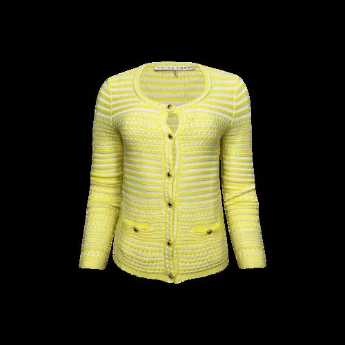 Trina Turk Yellow Striped Cotton Knit Cardigan