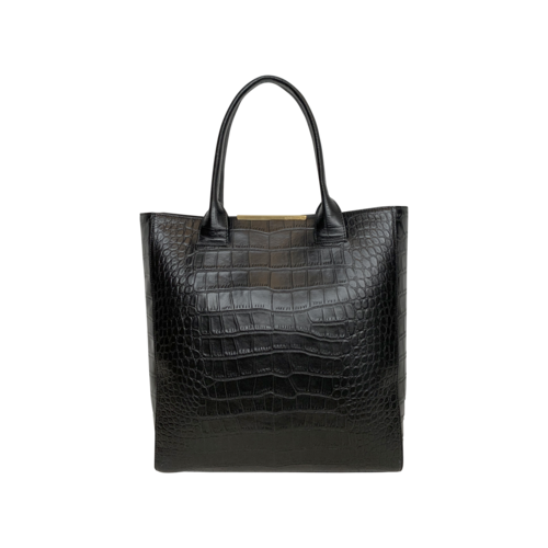 BCBGMAXAZRIA Black Leather Embossed Tote Bag