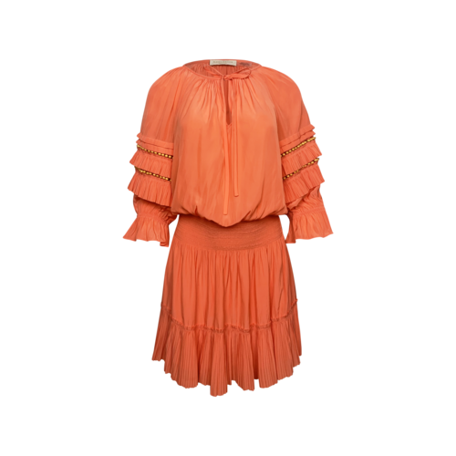"Ramy Brook Mimosa Orange ""Randi"" Split Neck Dress"