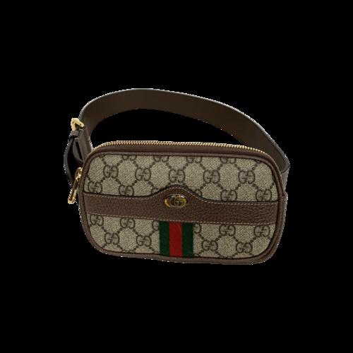 """Gucci Brown Logo """"Ophidia"""" Belt Bag"""