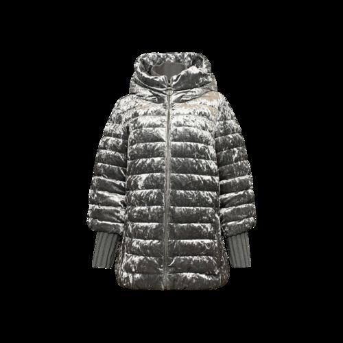 DKNY Metallic Silver Hooded Winter Coat