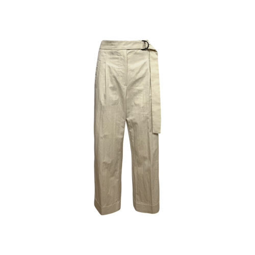 Brunello Cucinelli Beige Belted Pants w/ Embellished Side Stripes