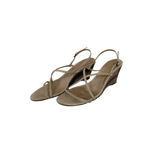 Burberry Beige Wedge Ankle Strap Sandals