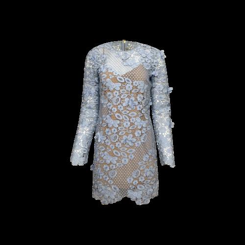 Self-Portrait Light Blue 3D Floral Crochet Dress
