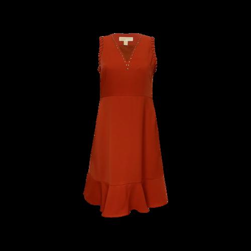 Michael Kors Orange Studded Dress w/ Flounce Hem