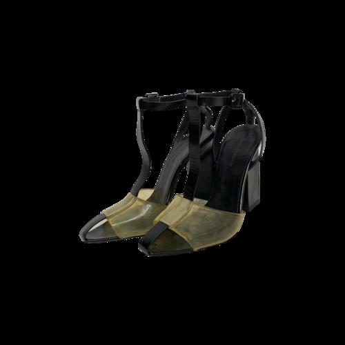 Alexander Wang Black T-Strap Heels w/ Yellow PVC Detail
