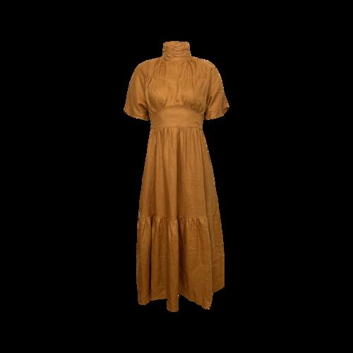 "Dissh Tangerine ""Elize"" Linen Midi Dress"