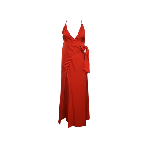 """NBD Red Front Slit """"Stewart"""" Wrap Gown"""