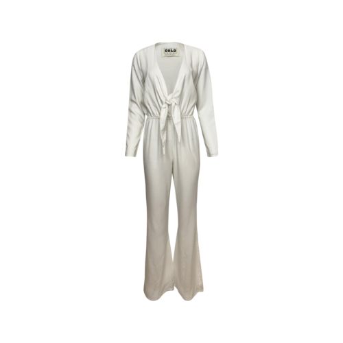 """Stone Cold Fox White """"Stardust"""" Front Tie Jumpsuit"""