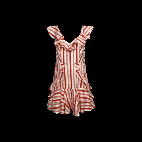 La Maison Talulah Red Bias Stripes Dress