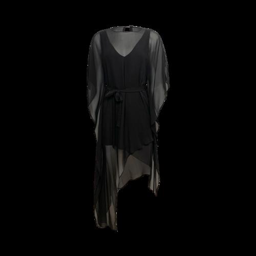 "BCBGMAXAZRIA Black "" Suzy"" Draped Asymmetrical Sheer Dress"